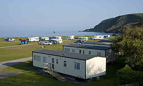 Holiday caravans with view out to sea