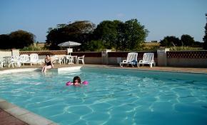 Outdoor pool in the sun