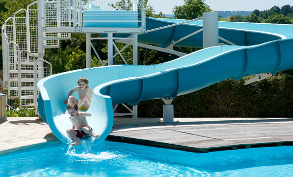 Pool and water slide