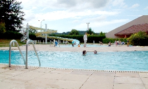Swimming pool with waterslide