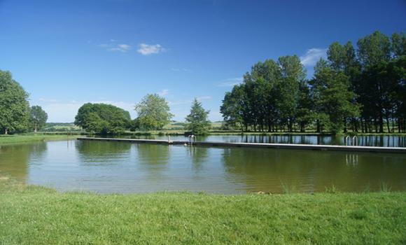 View of lake and swimming platform