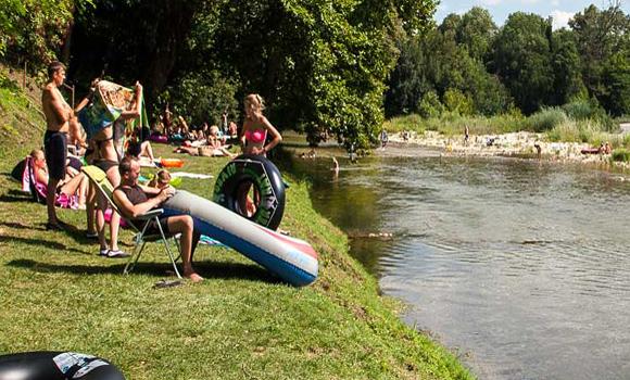 Fun beside the river