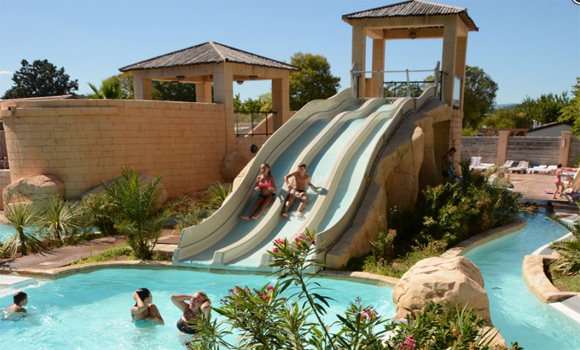 View of the pool and water slides