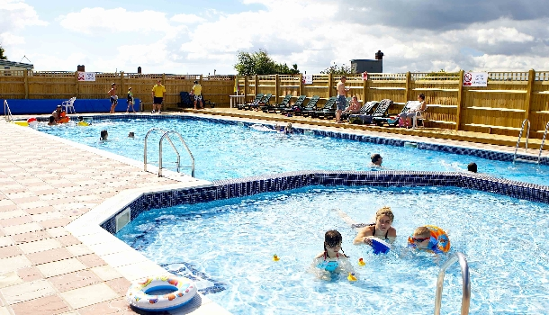 Outdoor swimming pool area