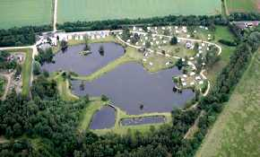 Aerial view of site and lakes