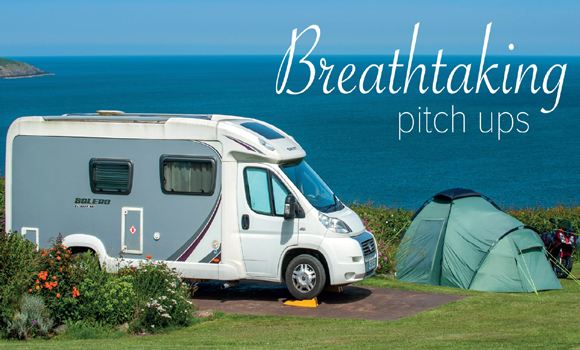 Motorhome and tent pitches with a panoramic view