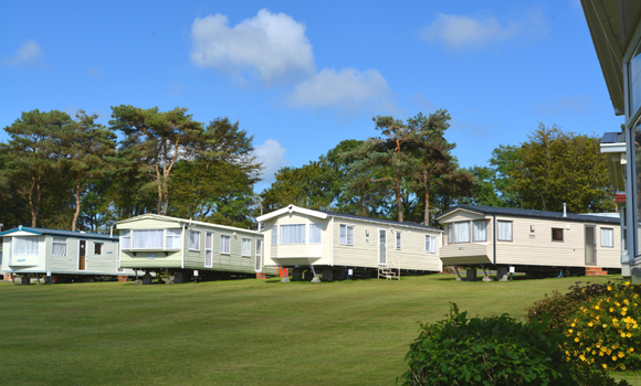 Holiday caravans on site