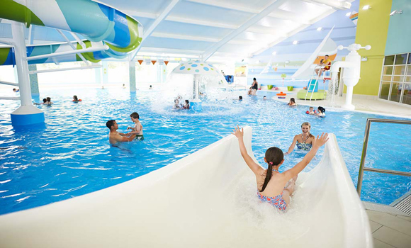 Indoor pool with slides