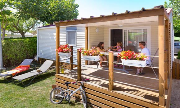 Holiday caravan with decking area