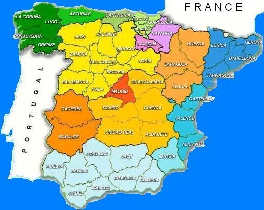 a map of spain and france. Click on #39;FRANCE#39; to return to