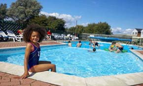 Kids having fun in the outdoor pool